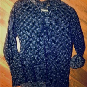 Patterned, Long-Sleeved Button Down Shirt